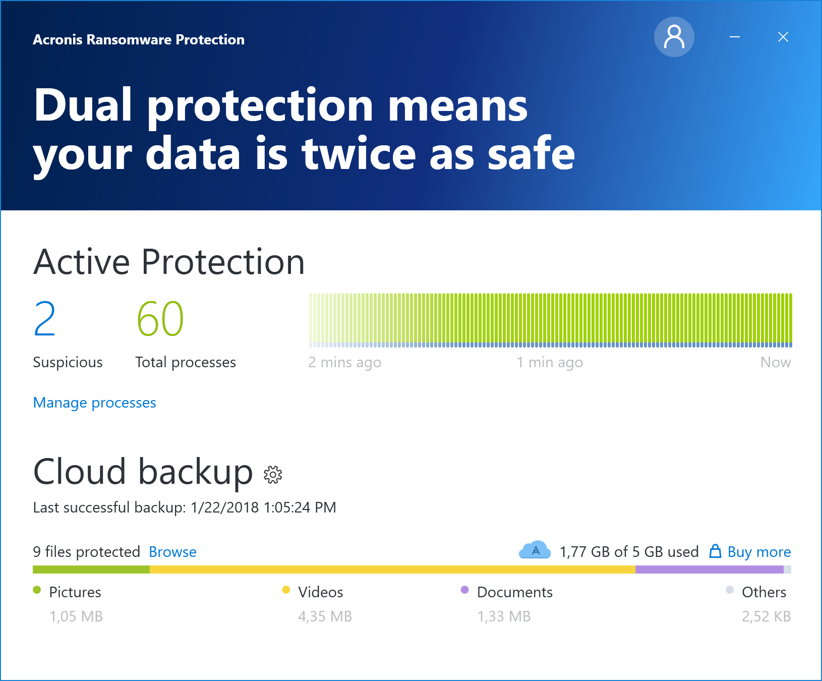 Acronis Ransomware Protection Screen shot