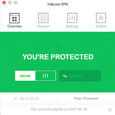 hide.me VPN for macOS full screenshot