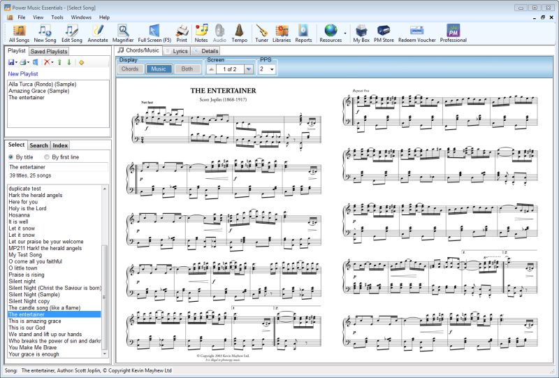 Management and display software for musicians - display music on screen