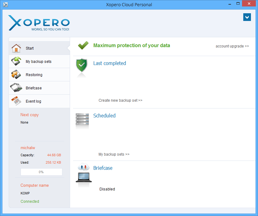 Xopero Cloud Personal full screenshot